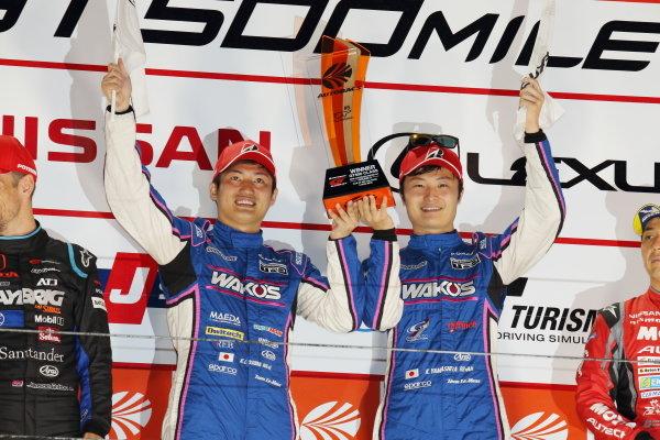 GT500 Winners Kazuya Oshima & Kenta Yamashita, Lexus Team Le Mans Wako's 4CR Lexus LC500, celebrate on the podium
