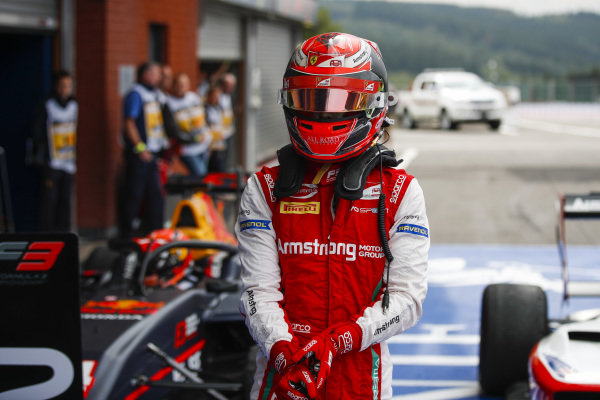 SPA-FRANCORCHAMPS, BELGIUM - SEPTEMBER 01: Winner Marcus Armstrong (NZL) PREMA Racing exits his car in parc ferme during the Spa-Francorchamps at Spa-Francorchamps on September 01, 2019 in Spa-Francorchamps, Belgium. (Photo by Joe Portlock / LAT Images / FIA F3 Championship)