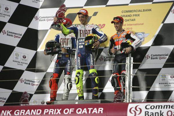 Losail International Circuit, Qatar.Round 1. 9th - 11th April 2010.MotoGP podium.World Copyright: Martin Heath/LAT Photographicref: Digital Image SE5K6793