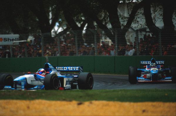 Albert Park, Melbourne, Australia.7-9 March 1997.Gerhard Berger (Benetton B197 Renault), 4th position, follows team mate Jean Alesi.Ref-97 AUS 26.World Copyright - LAT Photographic