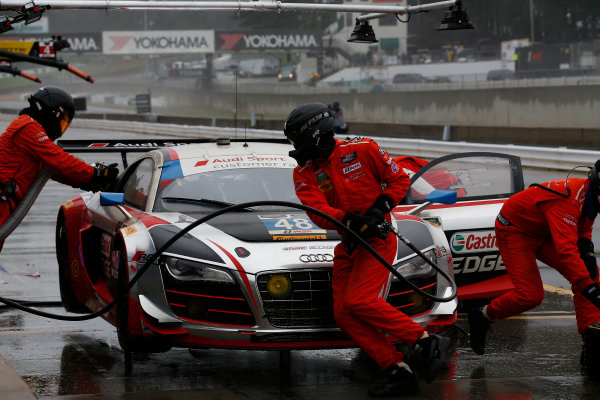 1-3 October, 2015, Braselton, Georgia USA , 48, Audi, R8 LMS, GTD, Christopher Haase, Dion von Moltke, Bryce Miller, pit stop,  ?2015, Michael L. Levitt LAT Photo USA