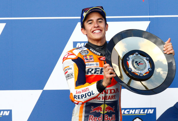 2017 MotoGP Championship - Round 16 Phillip Island, Australia. Sunday 22 October 2017 Podium: race winner Marc Marquez, Repsol Honda Team World Copyright: Gold and Goose / LAT Images ref: Digital Image 24389