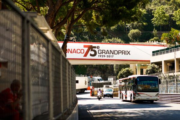 Monte Carlo, Monaco. Wednesday 24 May 2017. Monaco Grand Prix signage over the circuit. World Copyright: Sam Bloxham/LAT Images ref: Digital Image _W6I9900
