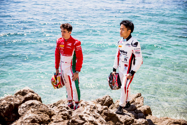 2017 FIA Formula 2 Round 3. Monte Carlo, Monaco. Wednesday 24 May 2017. Charles Leclerc (MCO, PREMA Racing), Nobuharu Matsushita (JPN, ART Grand Prix). Photo: Zak Mauger/FIA Formula 2. ref: Digital Image _54I4815