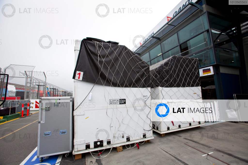 Albert Park, Melbourne, Australia22nd March 2011.Lotus Renault GP freight being unloaded.World Copyright: Alastair Staley/LAT Photographicref: Digital Image AS5D5674