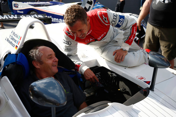 Red Bull Ring, Spielberg, Austria. Saturday 08 July 2017. Tom Kristensen with Gerhard Berger at the Legends Parade. World Copyright: Andy Hone/LAT Images ref: Digital Image _ONZ0873