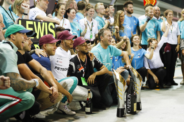 Lewis Hamilton, Mercedes AMG F1, 1st position, celebrates with his team and guests