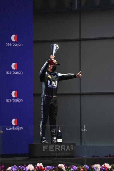 Guanyu Zhou (CHN, Uni-Virtuosi Racing), 3rd position, with his trophy