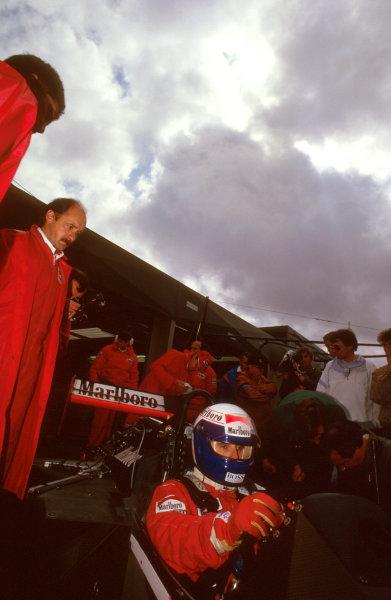 Spa-Francorchamps, Belgium.1-3 May 1987.Alain Prost (McLaren MP4/3 TAG Porsche) 1st position.Ref-87 BEL 08.World Copyright - LAT Photographic
