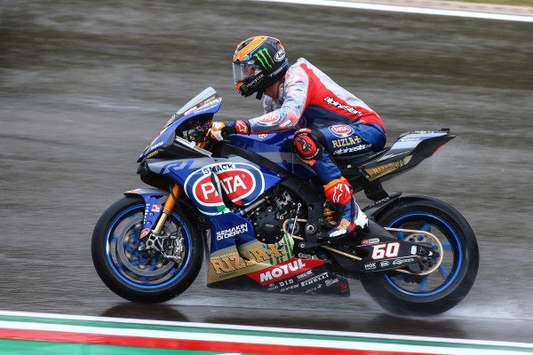 Michael van der Mark, Pata Yamaha on wet assessment laps.