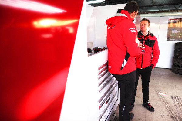 Allan McNish, Team Principal, Audi Sport Abt Schaeffler, in the garage
