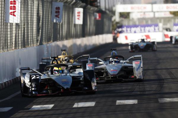 Oliver Rowland (GBR), Nissan e.Dams, Nissan IMO1, leads Edoardo Mortara (CHE) Venturi Formula E, Venturi VFE05, and Andre Lotterer (DEU), DS TECHEETAH, DS E-Tense FE19