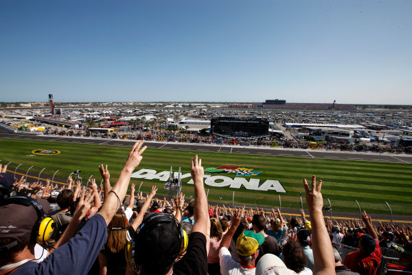 20 February, 2011, Daytona Beach, Florida, USA Fans hold up three fingers on the 3rd lap to remember Dale Earnhardt ten years after he died on the last lap of the 2001 Daytona 500 ©2011, Michael L. Levitt LAT Photo USA