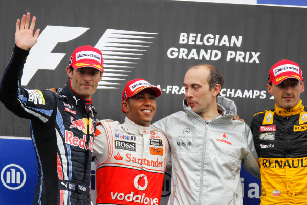 Spa-Francorchamps, Spa, Belgium 29th August 2010 Mark Webber, Red Bull Racing RB6 Renault, 2nd position, Lewis Hamilton, McLaren MP4-25 Mercedes, 1st position, Phil Grew, Race Engineer, McLaren, and Robert Kubica, Renault R30, 3rd position, on the podium. Portrait. Podium.  World Copyright: Charles Coates/LAT Photographic ref: Digital Image _G7C0695