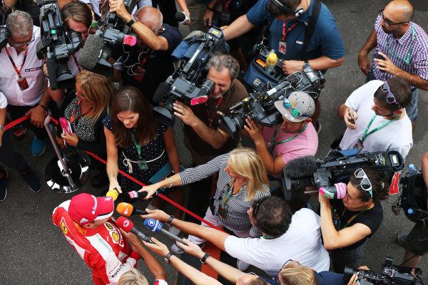 Autodromo Nazionale di Monza, Monza, Italy. Friday 4 September 2015. Sebastian Vettel, Ferrari, speaks to the media. World Copyright: Jed Leicester/LAT Photographic ref: Digital Image JL2_7975