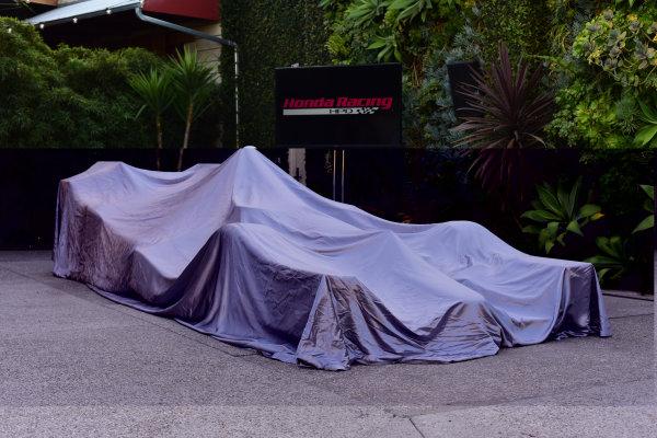 9 March, 2015, Culver City, California USA  Ryan Hunter-Reay's Andretti Autosport Honda Dallara with the 2015 Honda Aero Kit waiting to be unveiled ?2015, Kit Sinclair LAT Photo USA Courtesy of Honda Racing