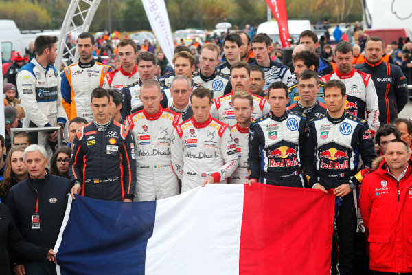 2015 World Rally Championship, Round 13, Rally of Wales GB, 12th - 15th November, 2015 WRC drivers and co-drivers paying tribute to the victims of Paris attacks.   Worldwide Copyright: McKlein/LAT