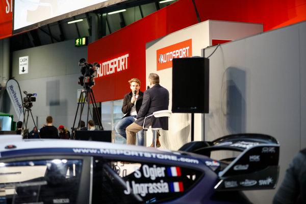 Autosport International Exhibition. National Exhibition Centre, Birmingham, UK. Sunday 14th January, 2018. Oliver Rowland talks to Henry Hope-Frost on the Autosport Stage. World Copyright: Ashleigh Hartwell/LAT Images Ref: _R3I9565