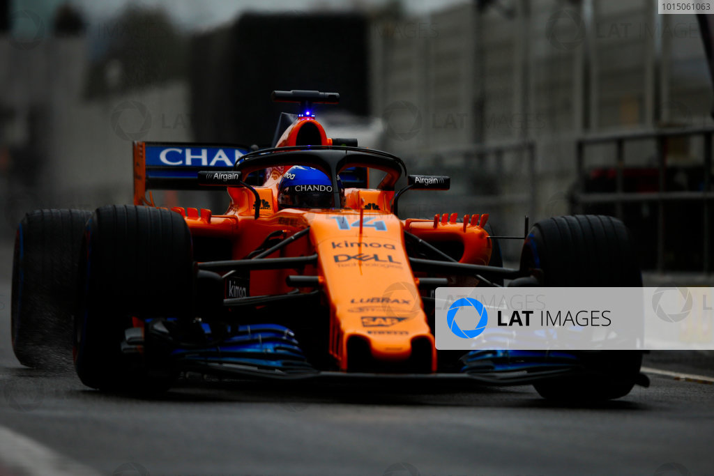 Circuit de Catalunya, Barcelona, Spain. Wednesday 28 February 2018. Fernando Alonso, McLaren MCL33 Renault, enters the pit lane. World Copyright: Andy Hone/LAT Images ref: Digital Image _ONY9894
