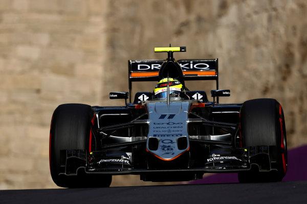 Baku City Circuit, Baku, Azerbaijan. Saturday 18 June 2016. Sergio Perez, Force India VJM09 Mercedes. World Copyright: Glenn Dunbar/LAT Photographic ref: Digital Image _V2I0657