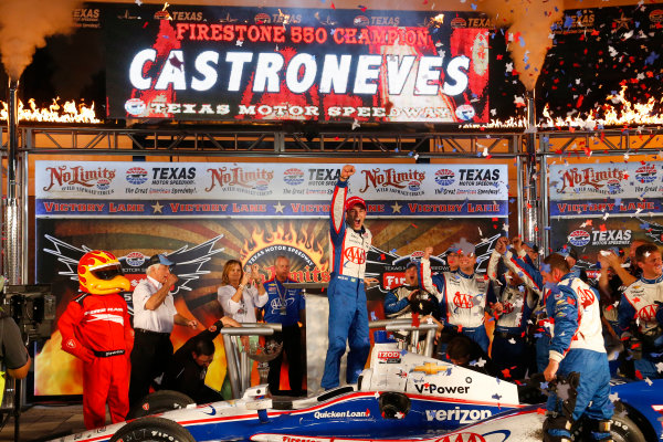 7-8 June, 2013, Fort Worth, Texas USA Helio Castroneves celebrates in victory lane ©2013, Lesley Ann Miller LAT Photo USA