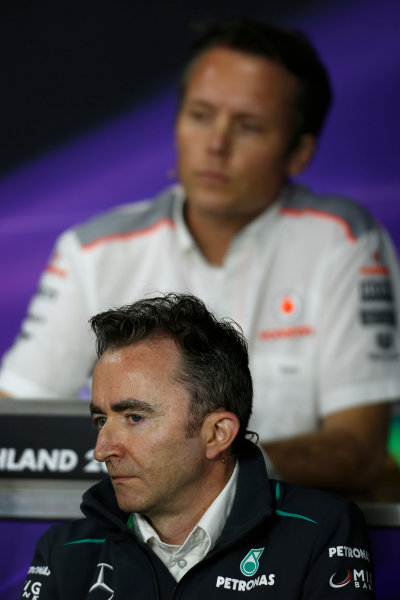Nurburgring, Germany 5th July 2013 Paddy Lowe, Executive Director (Technical), Mercedes AMG, and Sam Michael, Sporting Director, McLaren, in the Friday Press Conference World Copyright: Charles Coates/  ref: Digital Image _N7T9108