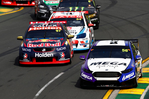 Australian Supercars Series Albert Park, Melbourne, Australia. Friday 24 March 2017. Race 1. Jason Bright, No.56 Ford Falcon FG-X, MEGA Racing, leads Shane van Gisbergen, No.97 Holden Commodore VF, Red Bull Holden Racing Team, James Moffat, No.34 Holden Commodore VF, Wilson Security Racing GRM, and Cameron Waters, No.6 Ford Falcon FG-X, The Bottle-O Racing Team and Monster Energy Racing. World Copyright: Zak Mauger/LAT Images ref: Digital Image _56I4763