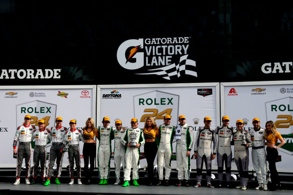 2017 Rolex 24 Hours. Daytona, Florida, USA Sunday 29 January 2017. Podium GTD: Race winner #28 Alegra Motorsports Porsche 911 GT3 R: Daniel Morad, Jesse Lazare, Carlos de Quesada, Michael de Quesada, Michael Christensen, second place #29 Montaplast by Land-Motorsport Audi R8 LMS GT3: Connor de Phillippi, Christopher Mies, Jules Gounon, Jeffrey Schmidt; third place #33 Riley Motorsports Mercedes AMG GT3: Jeroen Bleekemolen, Ben Keating, Mario Farnbacher, Adam Christodoulou World Copyright: Alexander Trienitz/LAT Images ref: Digital Image 2017-24h-Daytona-AT1-6048