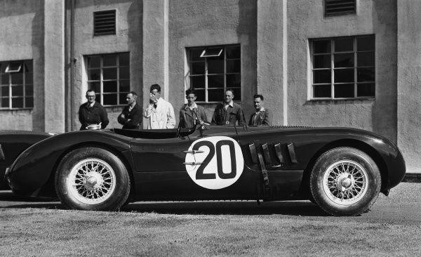 Le Mans, France. 23-24 June 1951.The winning C-type of Peter Walker/Peter Whitehead outside the factory.World Copyright: LAT Photographic.Ref:  B/W Print