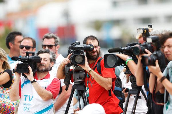 2014 Formula E  Punta Del Este e-Prix, Uruguay Friday 12 December 2014. Media attend the driver shoot Photo: Sam Bloxham/LAT/Formula E ref: Digital Image _14P4463