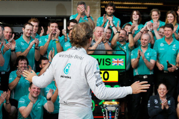 Circuit of the Americas, Austin, Texas, United States of America. Sunday 2 November 2014. Nico Rosberg, Mercedes AMG, 2nd Position, celebrates with his team. World Copyright: Charles Coates/LAT Photographic. ref: Digital Image _N7T5584