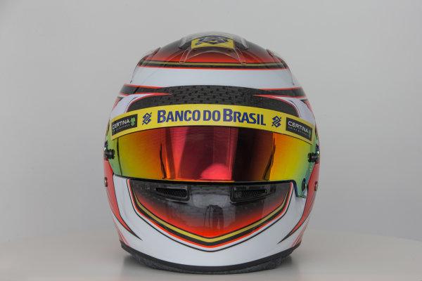 Sauber C34 Reveal. Hinwil, Switzerland. Thursday 29 January 2015. Helmet of Raffaele Marciello. Photo: Sauber F1 Team (Copyright Free FOR EDITORIAL USE ONLY) ref: Digital Image Sauber_2015_Helmet_36