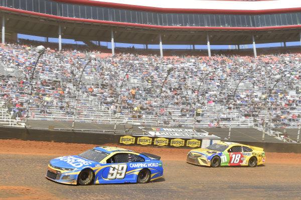 #99: Daniel Suarez, TrackHouse Racing, Chevrolet Camaro Camping World, #18: Kyle Busch, Joe Gibbs Racing, Toyota Camry M&M's Messages