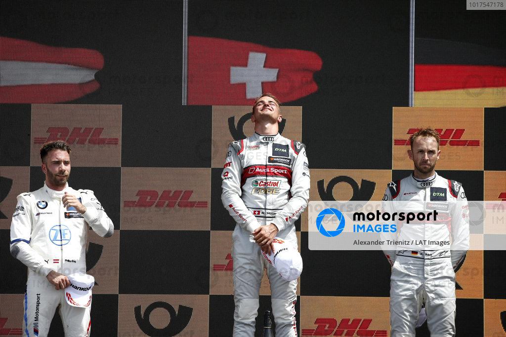 Podium: Race winner Nico Müller, Audi Sport Team Abt Sportsline, second place Philipp Eng, BMW Team RBM, third place René Rast, Audi Sport Team Rosberg.