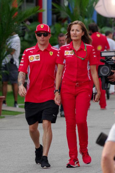 Kimi Raikkonen, Ferrari a Stefania Bocchi, tlačová agentka Ferrari