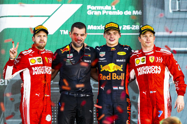 Sebastian Vettel, Ferrari, 2nd position, Guillaume Rocquelin, Head of Race Engineering, Red Bull Racing, Max Verstappen, Red Bull Racing, 1st position, and Kimi Raikkonen, Ferrari, 3rd position, on the podium