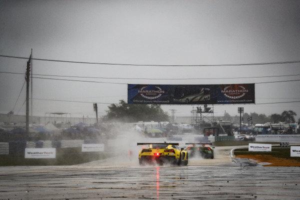 #3 Corvette Racing Corvette C7.R, GTLM: Jan Magnussen, Antonio Garcia, Mike Rockenfeller, #11 GRT Grasser Racing Team Lamborghini Huracan GT3, GTD: Mirko Bortolotti, Rik Breukers, Rolf Ineichen