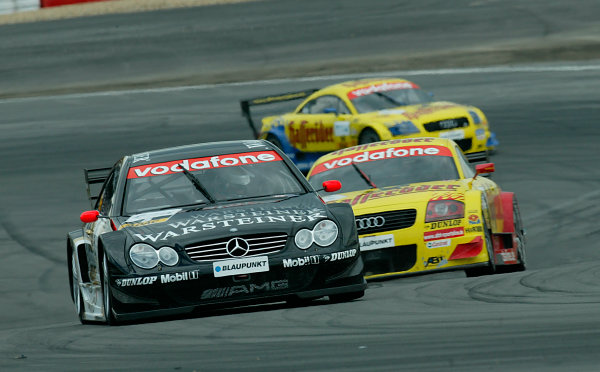 2002 DTM ChampionshipNurburgring, Germany. 4th August 2002Uwe Alzen (Merecedes-Benz CLK-DTM) leads the Abt-Audi TT-R's of Laurent Aiello and Christian Abt - action.World Copyright: Jon Tingle/LAT Photographicref: Digital File Only