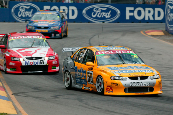 Clipsal 500 V8 Supercars Adelaide 22nd March 2003Holden Driver Jason Bright leads Holden Driver Mark Skaife during race 1 at the Clipsal 500 in Adelaide Australia.World Copyright: Mark Horsburgh/LAT Photographicref: Digital Image Only