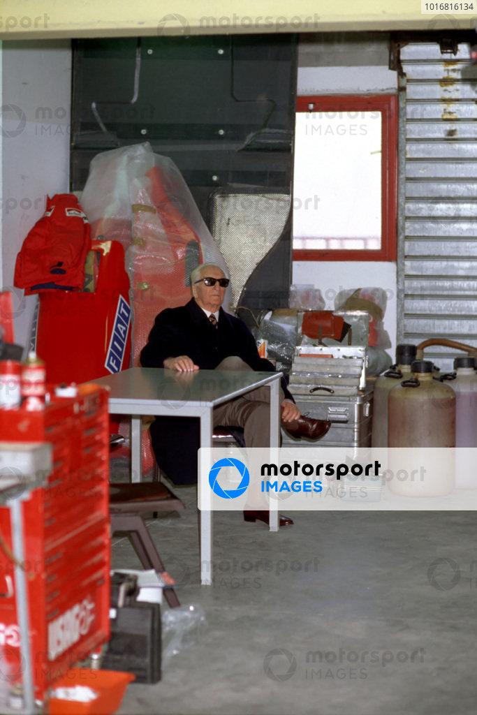Enzo Ferrari during testing at Imola, making what would be his final visit to a Ferrari Formula 1 pit garage.