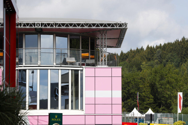 The Force India hospitality unit in the paddock.