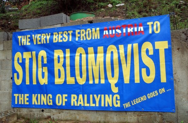 Stig Blomqvist has some Austrian fans.World Rally Championship, Rallye de France, Tour de Corse, Corsica, France. Day One, 17 October 2003.DIGITAL IMAGE