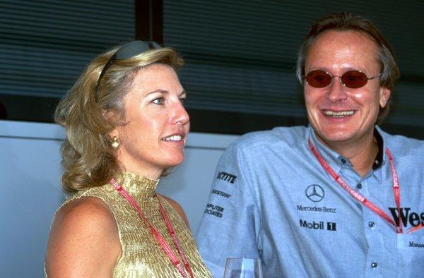 Lisa Dennis (GBR) with Mansour Ojjeh (KSA) Tag McLaren Group. Formula One World Championship, Rd2, Brazilian Grand Prix, Interlagos, Brazil, 11 April 1999.