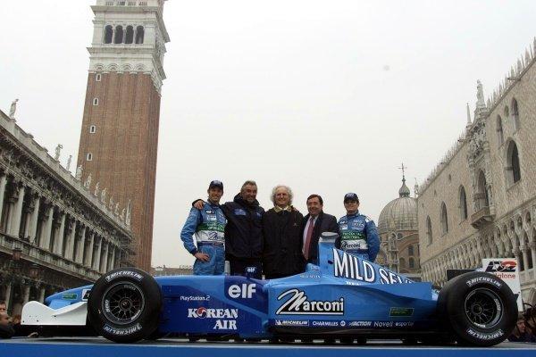 L to R: Jenson Button, Flavio Briatore, Luciano Benetton, Patrick Faure and Giancarlo FisichellaThe Mild Seven Benetton Renault Sport B201 Launch.St Marks Square, Venice, Italy  6 February 2001This is a 5.7mb digital file