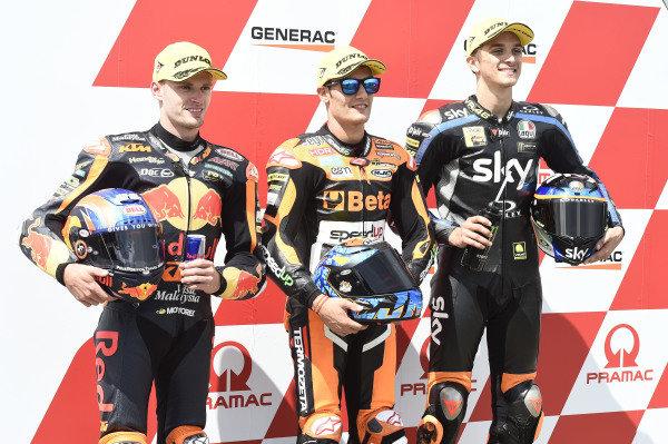 Polesitter Jorge Navarro, Speed Up Racing, second place Brad Binder, KTM Ajo, third place Luca Marini, Sky Racing Team VR46