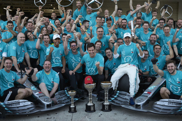 Valtteri Bottas, Mercedes AMG F1, Lewis Hamilton, Mercedes AMG F1 and Toto Wolff, Executive Director (Business), Mercedes AMG join other members of the AMG Mercedes F1 team celebrate winning the Constructors' World Championship,