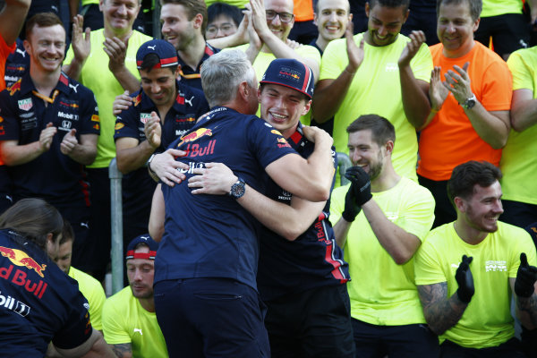 Max Verstappen, Red Bull Racing celebrates with the team after their race win.