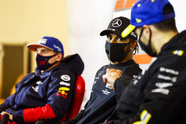 Race Winner Lewis Hamilton, Mercedes-AMG Petronas F1, Daniel Ricciardo, Renault F1 and Max Verstappen, Red Bull Racing in the press conference