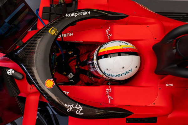 Sebastian Vettel, Ferrari SF1000 sits in his car