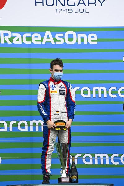 Race winner David BECKMAN (DEU, TRIDENT MOTORSPORT) on the podium